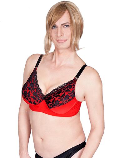 Olivia Jones BH mit roten edlem Stoff in unteren Brustbereich und dezenter Spitze in schwarz an der oberen Brust