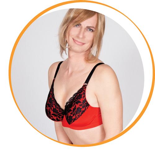 Olivia Jones Transwonder in der Farbe rot schwarz getragen von dem Modell Melly Wonder